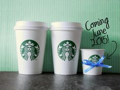 Cute baby announcement using Starbucks cups! Perfect pregnancy announcement for coffee lovers.
