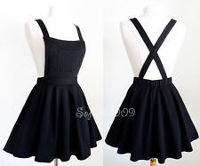NEW Black Soft Knit Crisscross Suspender High Waisted Pleated CUTE Overall Skirt