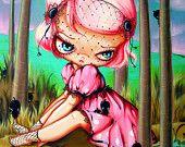 She Talks to Rocks and Gothic Easter Peeps-Sad eyed Fairy Tale Girl-Pinkytoast Art Print 8x10