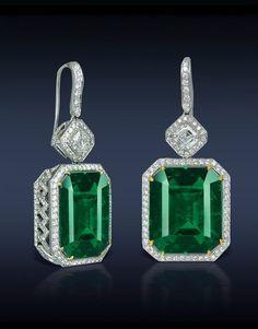 Emerald and Diamond Earrings. Jacob Co.