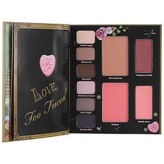 Too Faced Love Sweet Love - best for travel. 6 eyeshadow colors, bronzer, blush and lip gloss in one small palette plus a mirror