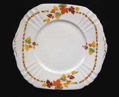 1930's Royal Albert Crown China 'RUSSET' Cake Plate - Autumn Leaves, Gold Trim #RoyalAlbert #CakePlate