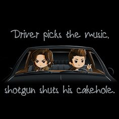 Shotgun Shuts His Cakehole - This official Supernatural t-shirt featuring Sam and Dean Winchester is only available at TeeTurtle! Supernatural Imagines, Supernatural T-shirt, Supernatural Wallpaper, Supernatural Drawings, Supernatural Funny Moments, Supernatural Background, Supernatural Seasons, Destiel, Sam E Dean Winchester
