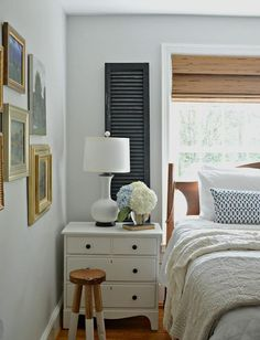 A great old wood shutter Idea! Adding them to a master bedroom window.