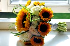 Sunflower and white roses wedding bouquet - summer bridal bouquet - Photographed by Tamsyn Hayward Photography