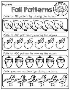 Kindergarten Worksheets Fall Pattern Activities Pre K Ideas Fall Preschool, Preschool Math, Kindergarten Classroom, Teaching Math, Math Activities, Music Classroom, Kindergarten Worksheets, Classroom Themes, Teaching Ideas