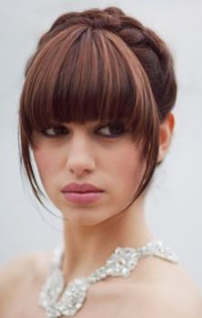 Lovely bridal updo with neat bangs
