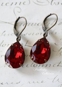 Ruby Red Swarovski Crystal Earrings, Vintage Style, Tear Drop, Estate Style, Valentine's Day