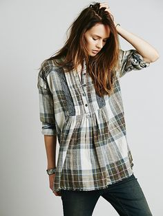Free People Crochet Inset Plaid at Free People Clothing Boutique
