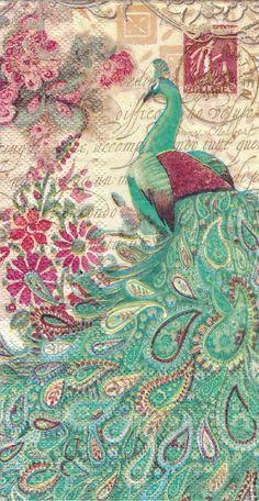 Single one beautiful  napkin  Aqua Peacock door Dalilasdecoupage