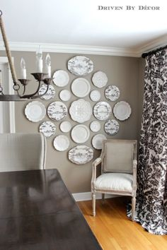 Hang Grandma Wiest's china plates on wall in dining room.