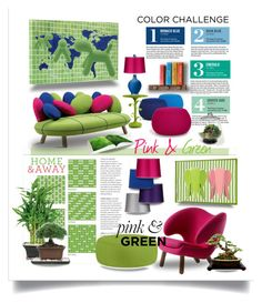 Color Challenge: Pink and Green by betiboop8 on Polyvore featuring interior, interiors, interior design, home, home decor, interior decorating, Arper, Stray Dog Designs, Sunbrella and Fresh American
