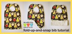 Fold-Up-and-Snap Bib Tutorial: This bib is perfect for messy babies! The bottom folds up and snaps to make a pocket for catching crumbs. After mealtime's finished, just unsnap the pocket and shake it out over the trash, and toss it in the wash