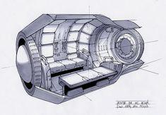 Looks cozy, for an emergency escape pod. Spaceship Interior, Spaceship Design, Star Citizen, Alien Spaceship, Blueprint Art, Star Wars Concept Art, Concept Ships, Star Wars Ships, Retro Futuristic