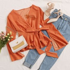 To find out about the Split Bell Sleeve Wrap Belted Peplum Top at SHEIN, part of our latest Blouses ready to shop online today! Girls Fashion Clothes, Teen Fashion Outfits, Mode Outfits, Stylish Outfits, Girl Fashion, Girl Outfits, Cute Comfy Outfits, Aesthetic Clothes, Spring Outfits