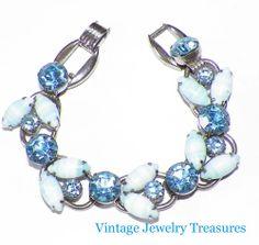 Vintage Blue Striped Rhinestone Juliana Silver Tone 5 Link Bracelet