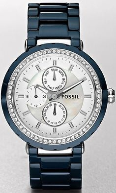 #Fossil #Watch , Women's CE1047 Blue Ceramic Quartz Watch with White Dial