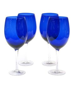 Love this Cobalt Blue 20-Oz. Wine Glass - Set of Four by Certified International on #zulily! #zulilyfinds