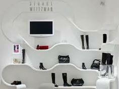 Shelving and showcasing done easy with Corian® formable features. Stuart Weitzman, Dupont Corian, Solid Surface, Shelving, Colours, Architecture, Macs, Design, Closets
