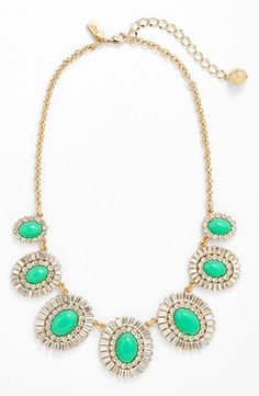 The perfect mint addition to a spring party dress | Kate Spade statement necklace