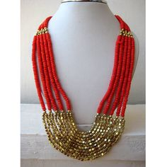 Coral Statement Necklace/Bib Necklace/Beaded by FootSoles on Etsy