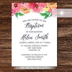 Beautiful Watercolor Baptism Invite Christening by JadorePaperie