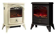 NEW Wood Burner Log Effect Electric Fire Free Standing Stove Cream Black