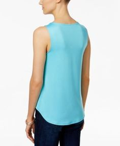 Charter Club Sleeveless Tank Top, Only at Macy's - Blue XXL