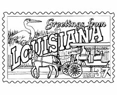 Louisiana State Stamp Coloring Page