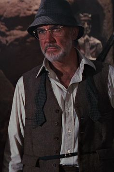 Waistcoat unbuttoned Sean Connery as Dr Henry Jones taken from Indiana Jones and the Last Crusade Copyright Paramount Pictures