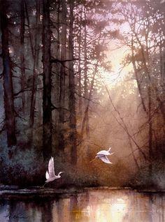 Tan Chun Chiu Egret Sunset by T C Chiu original watercolor on paper absolutearts.com
