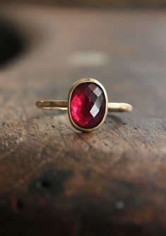 Pink tourmaline and 14k gold ring, recycled, eco friendly, hammered, fine jewelry, modern, everyday, stacking ring, stack, stackable - Belinda Saville on Etsy