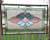 Victorian style beveled stained glass panel window pastel colors stained glass window panel transom large window hanging VB7