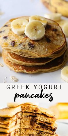 Protein packed, chocolate chip Greek yogurt pancakes that mix up in no time, right in your blender! Perfectly fluffy and delicious. Made with oats and naturally sweetened with banana. These flourless pancakes are packed with protein! Healthy Sweets, Healthy Snacks, Breakfast Muffins, Breakfast Smoothies, Healthy Eating, Healthy Drinks, Breakfast Ideas, Healthy Birthday Treats, Healthy Low Calorie Breakfast