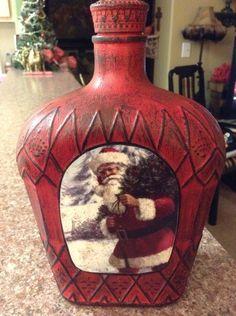 Decorated Liquor Bottles, Liquor Bottle Crafts, Wine Bottle Art, Painted Wine Bottles, Diy Bottle, Painted Wine Glasses, Bottles And Jars, Bottle Lamps, Glass Bottles