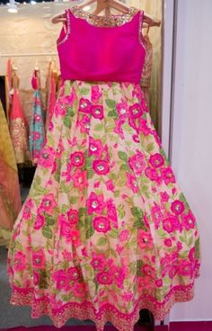 Floral Kali lahenga with designer blouse .. loved with neck line of blouse.. get it stitched at www.myTailor.in