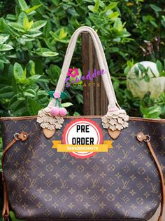 f3c2807a07cf Pre-Order  Beautiful White Cream Flower Design Handmade Handle  Cover Protector with pink cherries for LV Louis Vuitton Neverfull MM