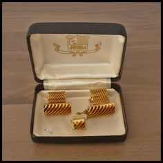 "Exquisite Vintage NOS Set Gold Mesh Chain Wraparound Cufflinks ""FORMAL"" Boxed"