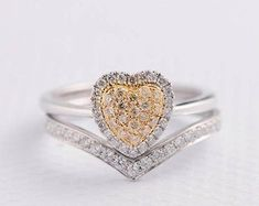 HANDMADE RINGS & BRIDAL SETS by MoissaniteRings on Etsy Heart Shaped Engagement Rings, Halo Diamond Engagement Ring, Diamond Wedding Rings, Engagement Ring Settings, Wedding Band, Bridal Ring Sets, Bridal Rings, Heart Shaped Diamond, Handmade Rings