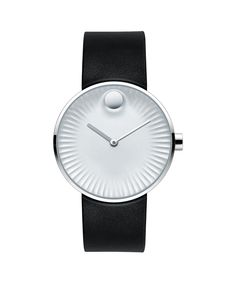 Men's Movado Edge watch, 40 mm polished stainless steel case, concave sandblasted silver-toned aluminum dial with raised polished tonal dot, sculpted ray-textured edge, matte silver-toned hour hand and polished silver-toned minute hand, black rubber strap with polished stainless steel buckle  Model: 3680001!Price $475.99
