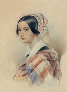 """A.Smirnova -Rosset,ukranian,well known and adored freilina in Russian court, good friend of A.Pushkin,due to her beauty,good heart and FAB humour bone :) """"Rosetti Chernookaja """" as he called her  ( Hau `s or Brullov`s portret here ,though ) Портрет А.О. Смирновой-Россет 1834-35г. She left such a wonderful memoirs !"""