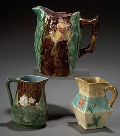 Three English Majolica Pitchers, - Cowan's Auctions