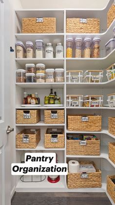 Use bins to contain your items. Published by Our Perfecting Manor - Modern Farmhouse Kitchen Organization Pantry, Kitchen Storage, Kitchen Pantry Design, Kitchen Decor, Organisation Hacks, Organizing Your Home, Room Decor Bedroom, Home Kitchens, Home Furnishings