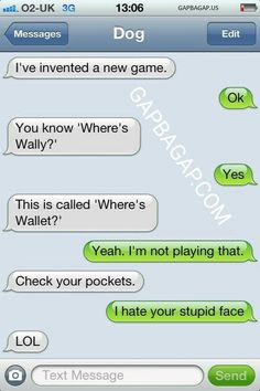 Funny Text About Dog vs. Wallet