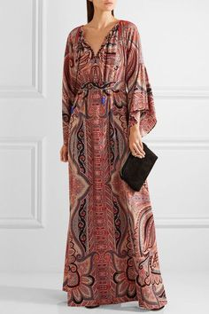 Etro - Tassel-trimmed Paisley-print Silk Gown - Burgundy - IT46