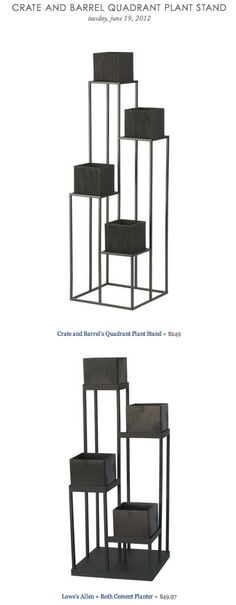 CRATE AND BARREL QUADRANT PLANT STAND vs LOWE'S ALLEN + ROTH CEMENT PLANTER