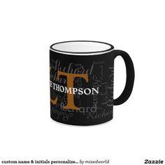 custom name & initials personalized typography ringer mug