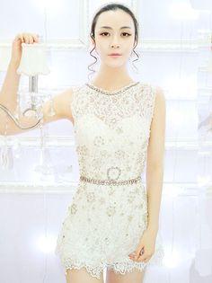 Charming Jingjing Beading Rhinestones Tank Slim Lace Jumpsuit_Fcplaza.com
