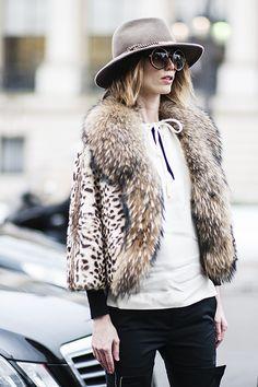 boho chic: fur jacket