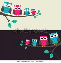Family Of Owls Sitting On A Branch. Two Variations. Stock Vector 81099664 : Shutterstock